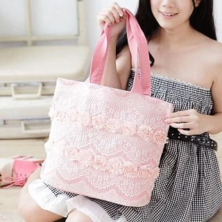 Rosette-Accent Lace-Trim Tote