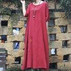 Short-Sleeve A-Line Midi Dress 1596
