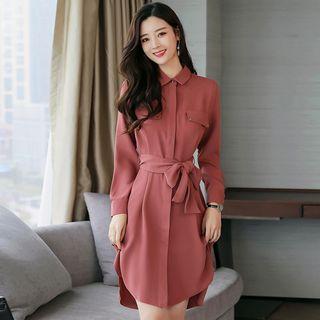 Tie-Waist Long-Sleeve Dress 1065039380