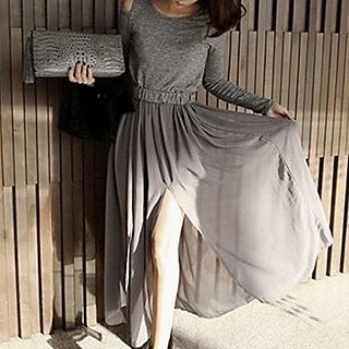 Cut Out Shoulder Long Sleeve Chiffon Panel Maxi Dress 1053374091