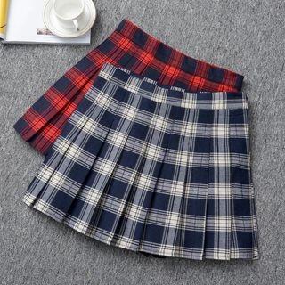 Plaid Pleated Mini Skirt 1060834074