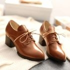 Lace-Up Chunky Heel Shoes Light Brown - 37 от YesStyle.com INT