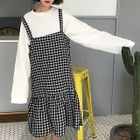 Plaid Midi Pinafore Dress 1596