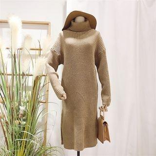 Turtleneck Ribbed Sweater Dress 1064096883