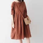 Lace-Up Elbow-Sleeve A-Line Dress 1596