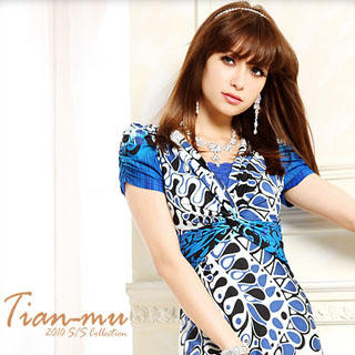 Buy Tian Mu Pattern V-Neck Dress 1022804219