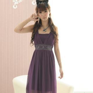 Buy 59 Seconds Jeweled Chiffon Dress Purple – One Size 1022882539