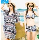 Couple Matching Set: Elephant Print Bikini + Cover-Up / Swim Shorts 1596