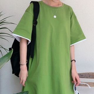 Short-sleeve | Two-Piece | T-Shirt | Green | Size | One