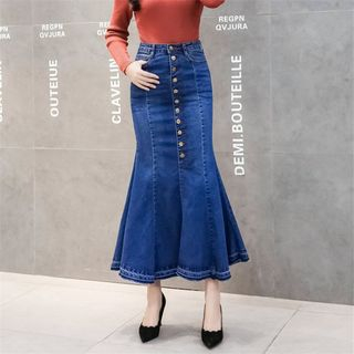 Image of Denim Mermaid Midi Skirt