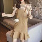 Set: Striped Short-Sleeve T-Shirt + Pinafore Dress 1596