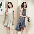 Sleeveless Check Ruffle Dress 1596