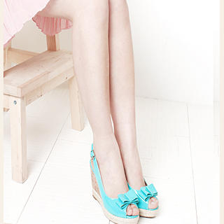 Buy KAWO Bow Patent Slingback Wedges 1022918710