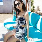 Set: Printed Cropped Tankini Top + Slit Swim Skirt 1596