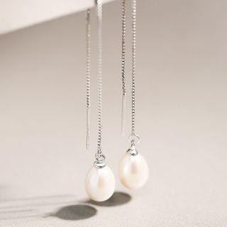 Sterling | Earring | Dangle | Figure | Silver | Pearl | Size | One