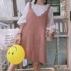 Set: Short-Sleeve T-Shirt + Pinstriped Pinafore Dress 1596