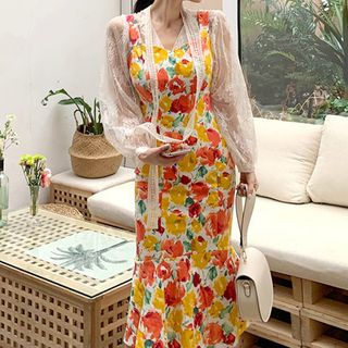Image of Long-Sleeve Lace Top / Sleeveless Floral Print Midi Dress