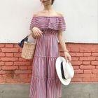 Stripe Off-shoulder Short-Sleeve Dress 1596
