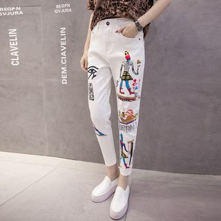 Printed Slim-Fit Cropped Jeans 1059949524