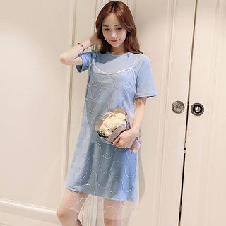 Short-sleeve | Maternity | Spaghetti | T-Shirt | Strap | Dress | Lace