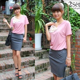 Buy Celli Girl Set: Appliqu  Short-Sleeve Top + Elasticized Waist Pencil Skirt 1023049054