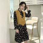 Set: Floral Print Long-Sleeve Dress + Knit Vest 1596