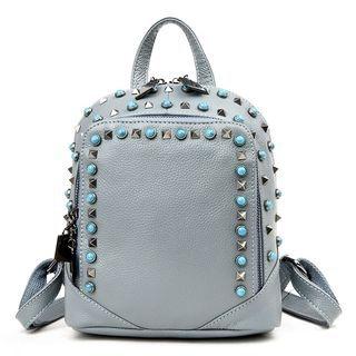 Studded Genuine Leather Backpack