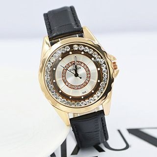 Rhinestone Genuine Leather Strap Watch 1051161544