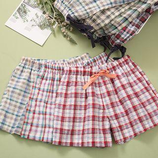 Image of Couple Matching Plaid Lounge Shorts
