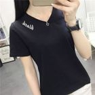 Embroidered V-Neck Short-Sleeve T-Shirt 1596
