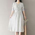 Pinstripe V-Neck Long-Sleeve Dress 1596