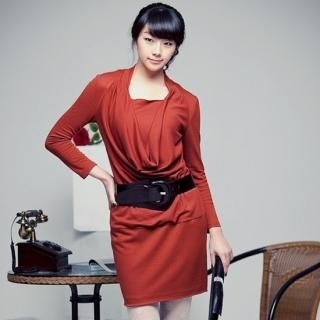 Picture of CHANNEL9 Long-Sleeve Draped Dress 1022326342 (CHANNEL9 Dresses, Womens Dresses, South Korea Dresses, Long-Sleeve Dresses)
