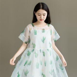 Set: Cactus Print Short-Sleeve A-Line Midi Dress + Strappy Dress 1060889960