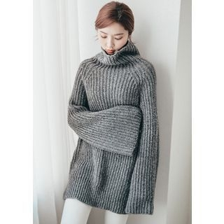 Cowl-Neck Wool Blend Long Sweater 1056072570