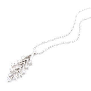 Image For 18K White Gold Dangling Pendant with Diamonds