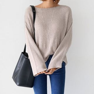 Boat-Neck Ribbed Knit Top 1053143453