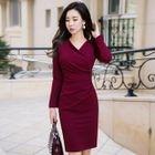 Plain V-neck Long-Sleeve Dress 1596