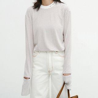 Ripped Striped Long Sleeve T-Shirt 1064478357