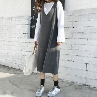 Plain Long Sleeve T-Shirt / Plain Knit Midi Pinafore Dress 1062293659