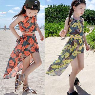 Kids Set: Floral Sleeveless Top + Dipped Back Skirt 1067590059