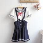 Set: Striped Sailor Collar Short Sleeve Top + Pinafore Dress 1596
