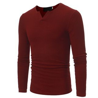 V-Neck Ribbed Long-Sleeve T-Shirt 1062098150