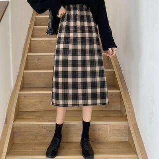 Plaid Midi A-line Skirt