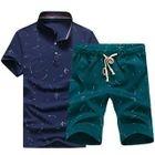 Set: Printed Stand Collar Short-Sleeve Polo Shirt + Drawstring Shorts 1596