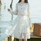 Set: Floral Embroidered Long-Sleeve A-Line Midi Dress + Strappy Dress 1596