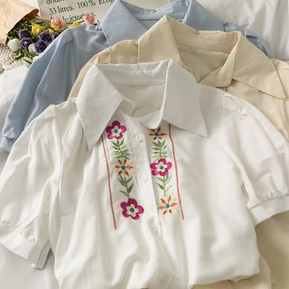 Image of Puff-Sleeve Embroidered Loose Shirt