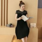 Maternity Short-Sleeve Pleated Chiffon Dress 1596