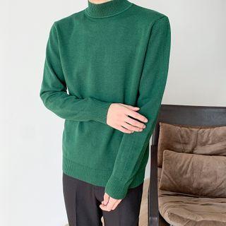 Plain Mock-neck Sweater