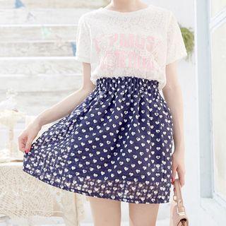 Heart Pleated Skirt