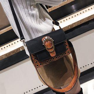 Embellished Eyelet Detail Crossbody Bag